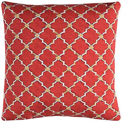 """Eaton Red Diamond 22"""" Square Outdoor Throw Pillow"""