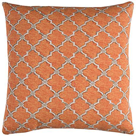 """Eaton Orange Diamond 22"""" Square Outdoor Throw Pillow"""