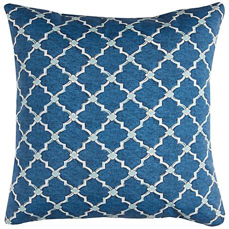 """Eaton Blue Diamond 22"""" Square Outdoor Throw Pillow"""