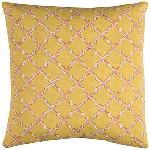 "Eaton Yellow Diamond 22"" Square Throw Indoor-Outdoor Pillow"