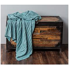 becca blue classic cable knit throw with foil print - Decorative Throws