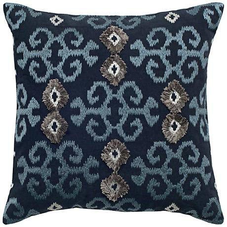 """Mia Blue and Silver Ikat with Flourishes 18"""" Square Pillow"""