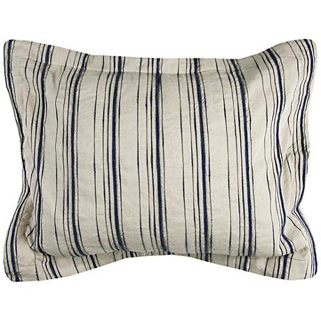 Vincent III Blue and Natural Linen King Pillow Sham
