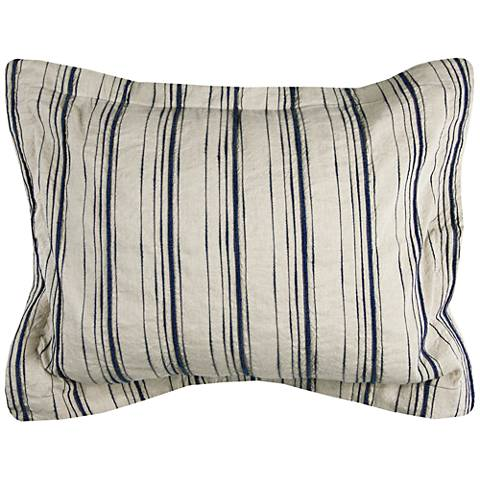 Vincent III Blue and Natural Linen Standard Pillow Sham