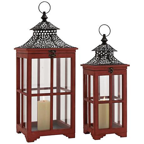 Horiyu Red Pagoda Candle Holder Lantern Set of 2