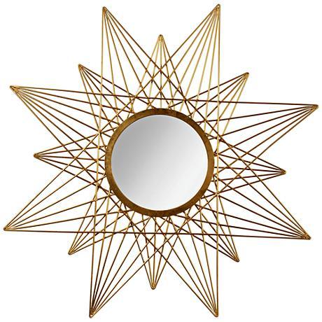 """Estra Gold Leaf 40""""x40"""" Sunburst Wall Mirror"""