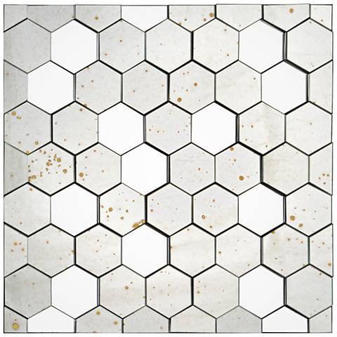 "Mel Honeycomb 30"" Square Antique Wall Mirror"