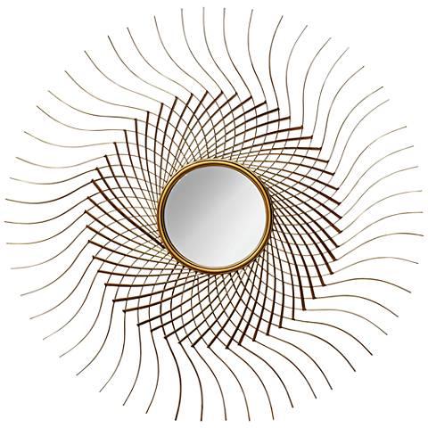 "Sola Gold Leaf Metallic 40"" Round Accent Wall Mirror"