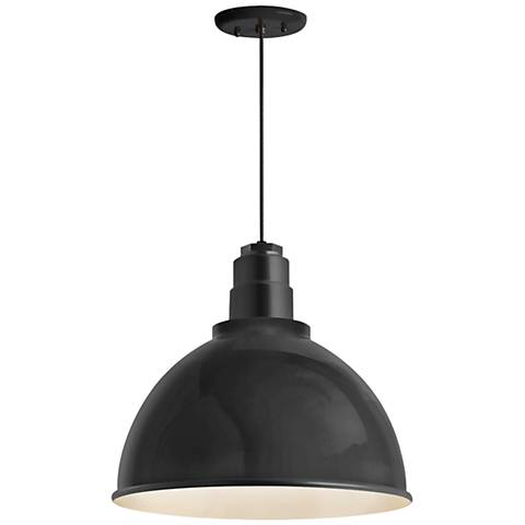 "RLM Deep Reflector 12""W Black Outdoor Hanging Light"
