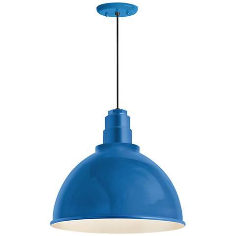 "RLM Deep Reflector 12""W Blue Outdoor Hanging Light"