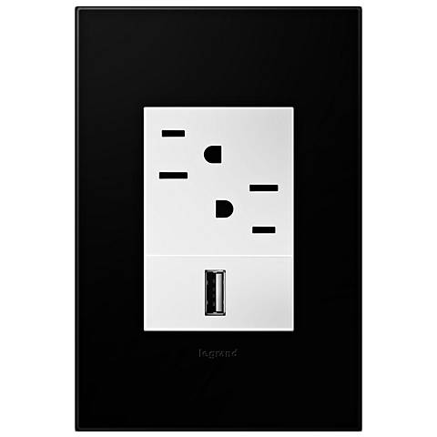 adorne Black Ink 1-Gang+ Wall Plate with Outlets