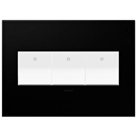 Black Ink 3-Gang Wall Plate with 3 x Paddle Switches