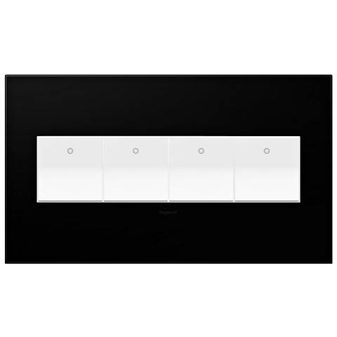 Black Ink 4-Gang Wall Plate with 4 x Paddle Switches
