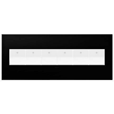 Black Ink 6-Gang Wall Plate with 6 x Paddle Switches