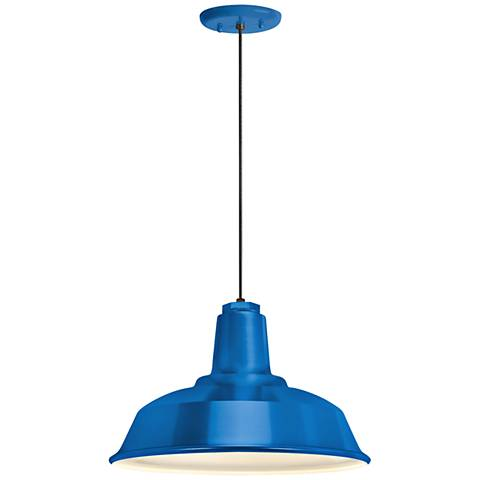 "RLM Heavy Duty 14"" Wide Blue Outdoor Hanging Light"