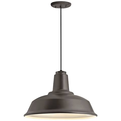 "Heavy Duty 16""W Textured Bronze Outdoor Hanging Light"