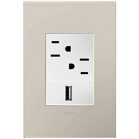 adorne Greige 1-Gang+ Wall Plate w/ Outlets