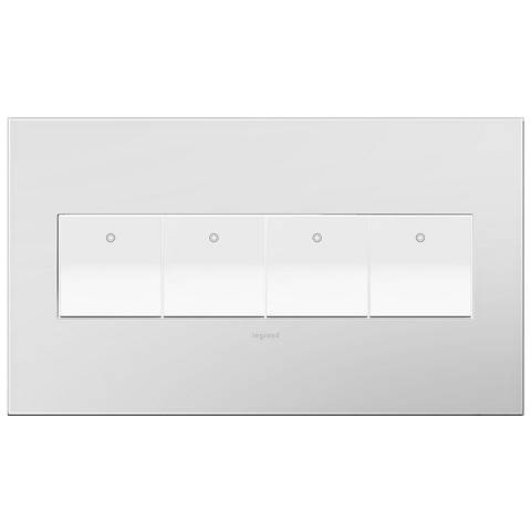 Powder White 4-Gang Wall Plate with 4 x Paddle Switches