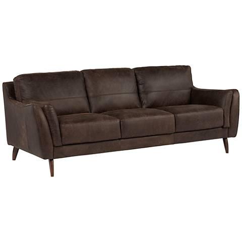 "Digio Piave 91"" Wide Brown Italian Leather Sofa"