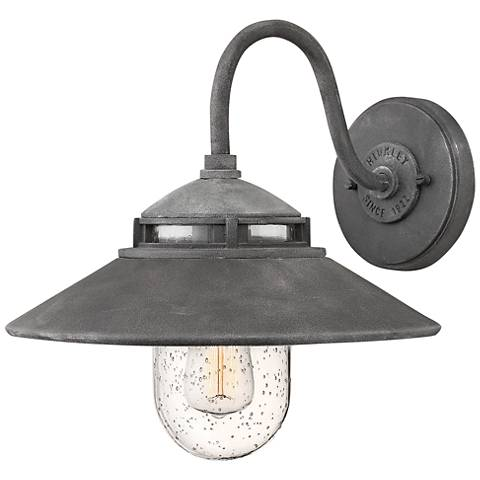 """Hinkley Atwell 11 3/4"""" High Aged Zinc Outdoor Wall Light ..."""