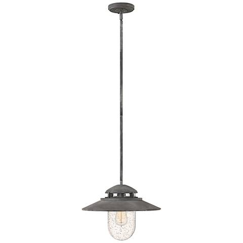 "Hinkley Atwell 11"" High Aged Zinc Outdoor Hanging Light"