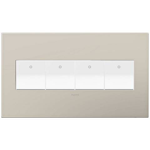 adorne Greige 4-Gang Wall Plate w/ 4 Switches