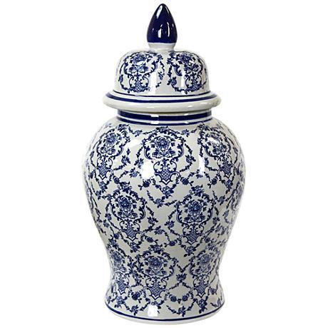 """Elburn Blue and White 18 3/4"""" High Ceramic Ginger Jar Vase"""