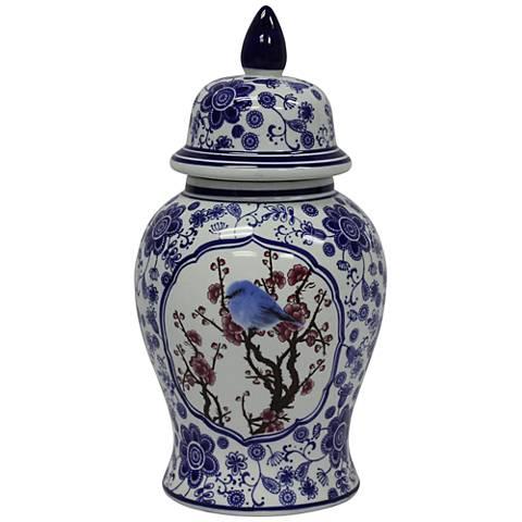 "Temple Blue and White 14"" High Ceramic Ginger Jar Vase"