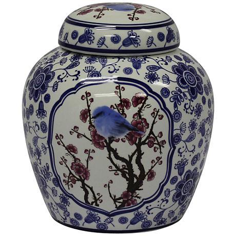 "Temple Blue and White 9 3/4"" High Ceramic Ginger Jar Vase"