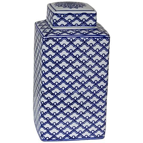"Lee Blue and White 11"" High Ceramic Ginger Jar Vase"