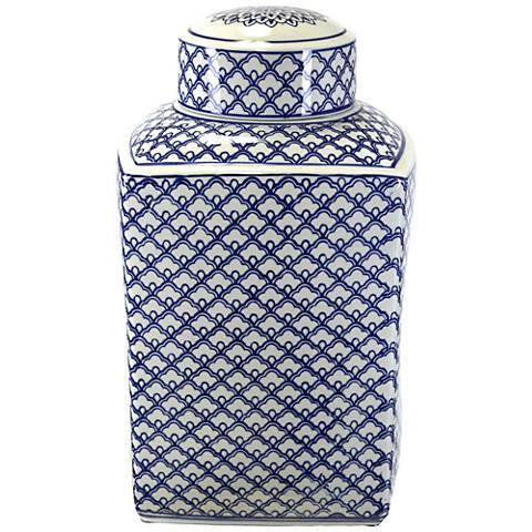 "Lee Blue and White 15 3/4"" High Ceramic Ginger Jar Vase"