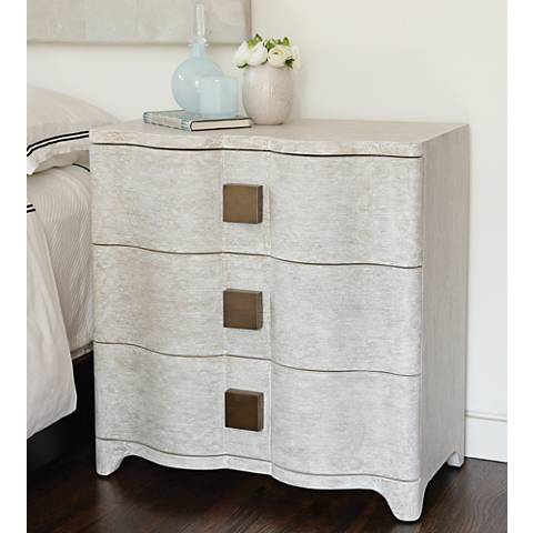 Global Views Toile Belgian Linen Bedside Table