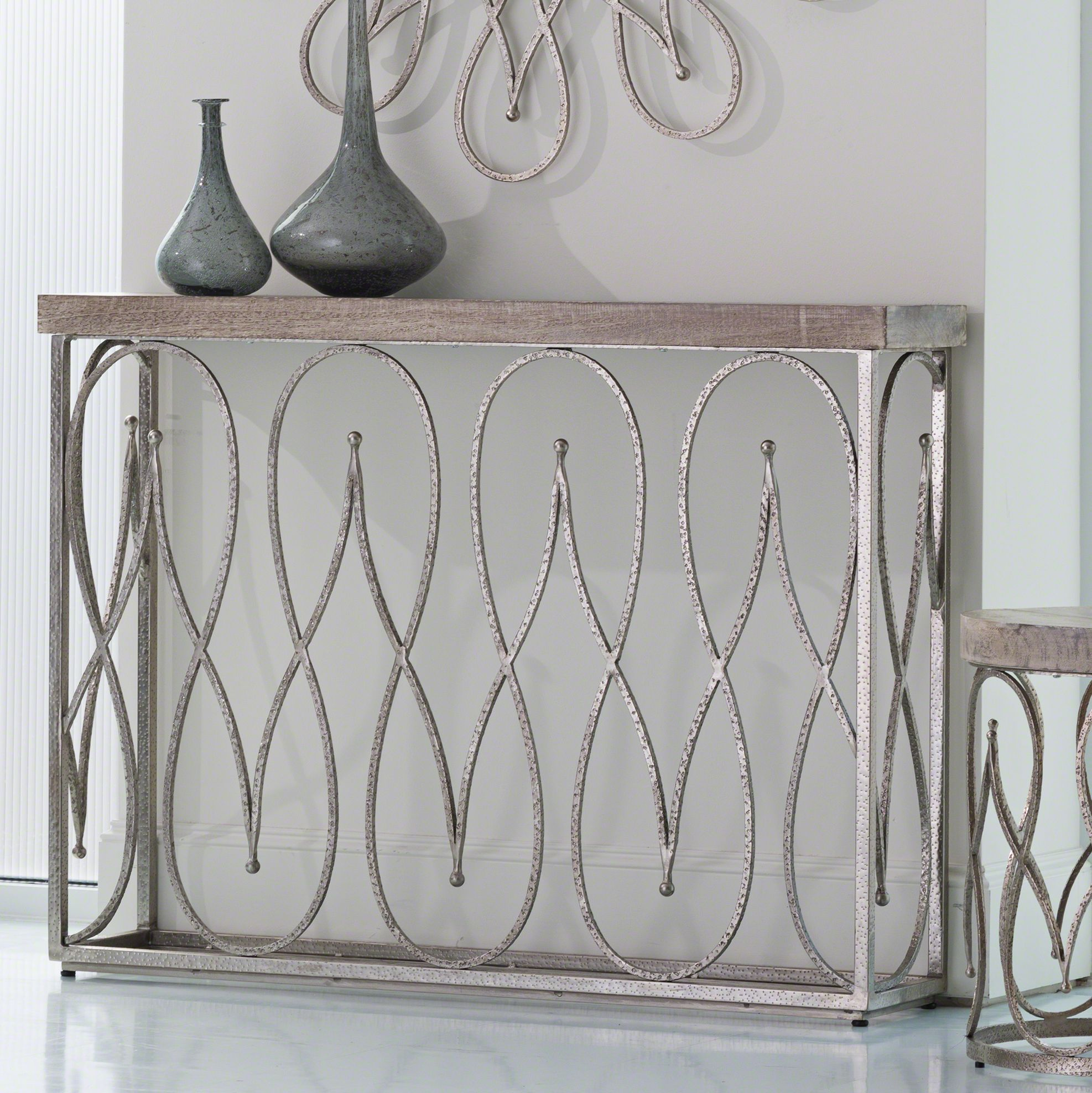 global views moroccan whitewashed wood top nickel console