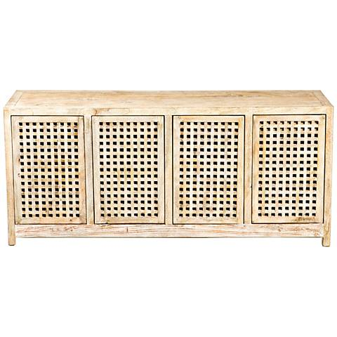Global Views Larkin Driftwood Lattice 4-Door Credenza