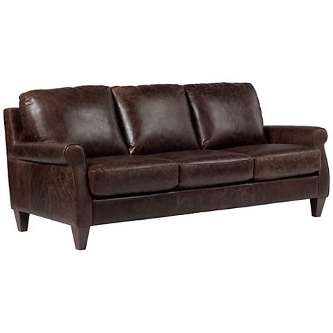 "Digio Houston 87"" Wide Brown Leather Sofa"