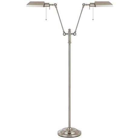 Honus Brushed Steel Dual Flat-Head Pharmacy Floor Lamp