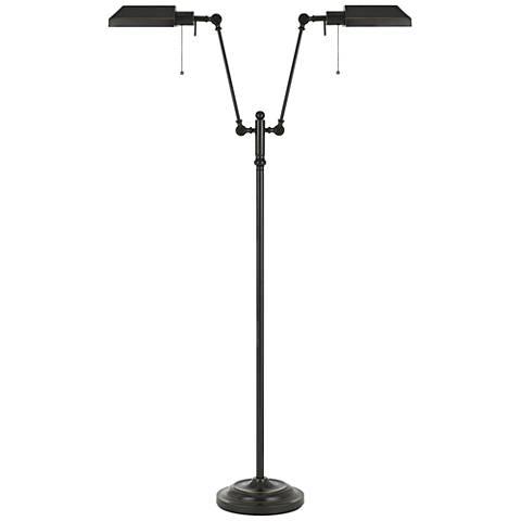 Honus Dark Bronze Dual Flat-Head Pharmacy Floor Lamp