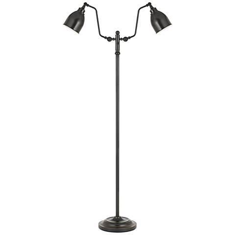 Wolfert Dark Bronze Dual Round-Head Pharmacy Floor Lamp