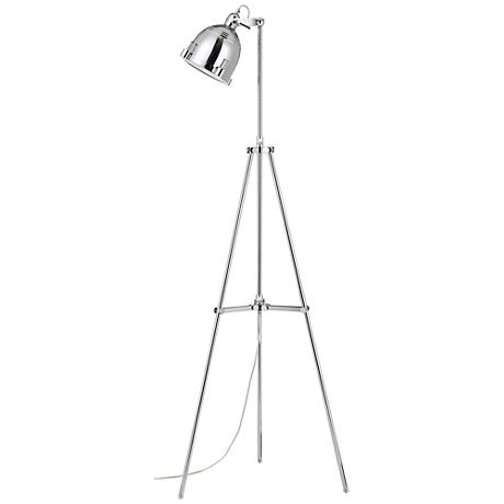 Hubble polished chrome adjustable tripod floor lamp for Eden 3 light tripod floor lamp chrome