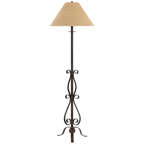 Ekalaka natural wrought iron scroll floor lamp 10t84 for Metal scroll floor lamp
