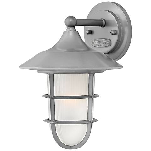 """Marina 11 3/4""""H Hematite Etched Glass Outdoor Wall Light"""