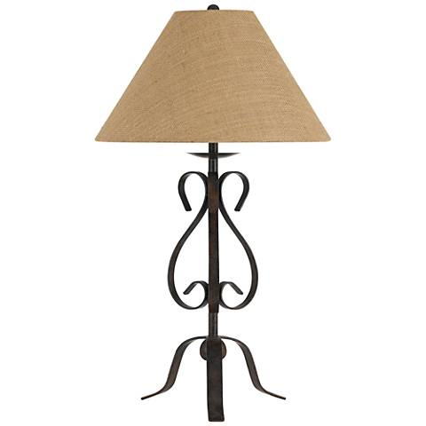 Ekalaka Natural Wrought Iron Scroll Table Lamp