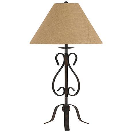 Ekalaka Natural Wrought Iron Scroll Table Lamp 10t95