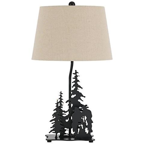 Cowboy Dark Bronze 3-D Diorama Laser-Cut Metal Table Lamp