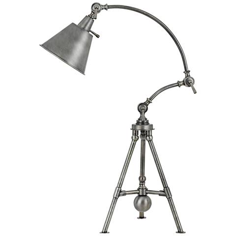 Merton Antique Pewter Adjustable Tripod Desk Lamp