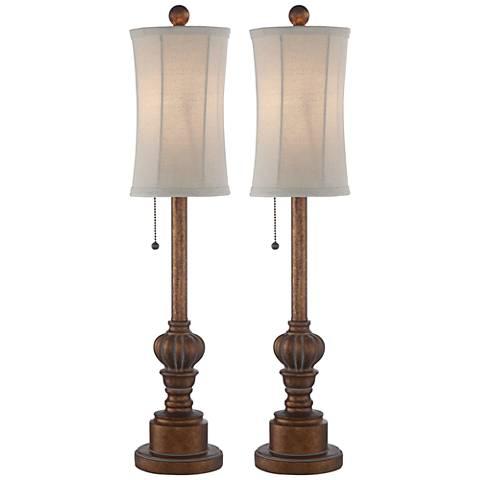 Bertie 28 High Tall Buffet Table Lamps Set