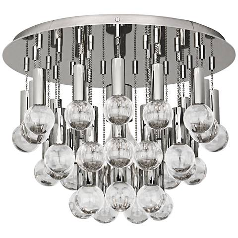 "Jonathan Adler Milano 14 3/4""W Polished Nickel Ceiling Light"