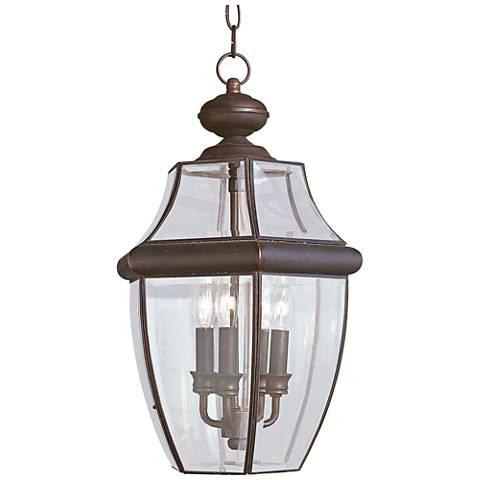 """Lancaster 20 3/4""""H Bronze 3-Light Outdoor Hanging Light"""
