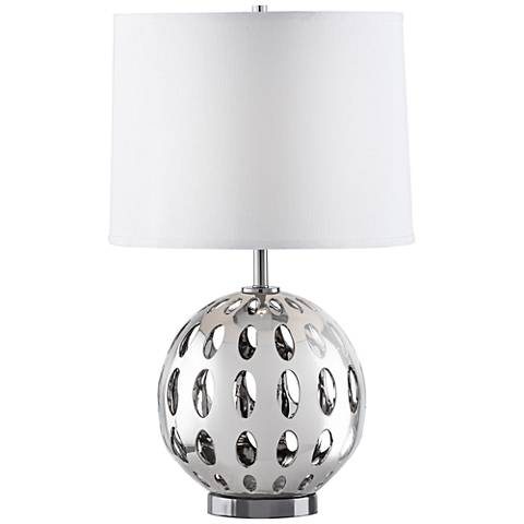 Nova Orb Polished Nickel Cut-Out Sphere Table Lamp