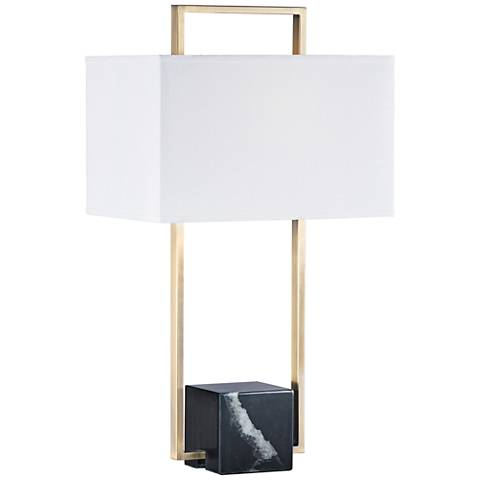 Nova Stratum Weathered Brass Open Rectangle Table Lamp